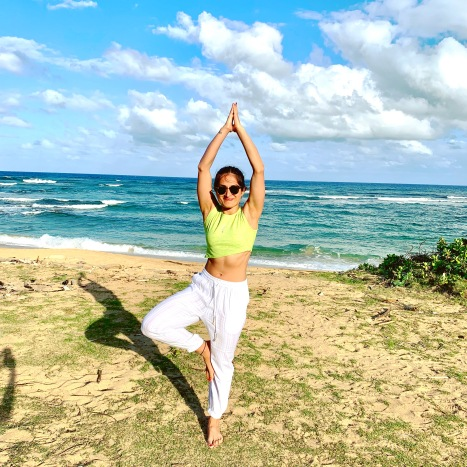 yoga, lydgate state beach park, kauai, hawaii