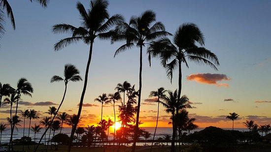 Stunning landscape, lush greenery of Kauai, hawaii, sunrise, hilton garden inn wailua bay