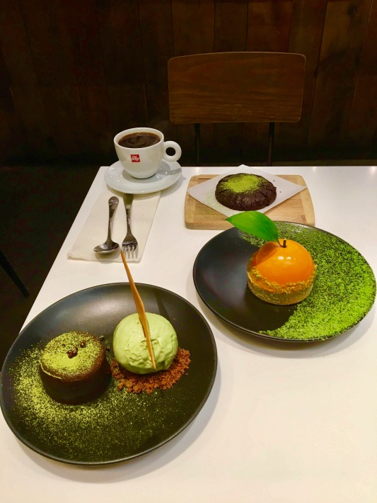 spot dessert bar matcha lava cake, big orange, matcha cookie the harvest nyc