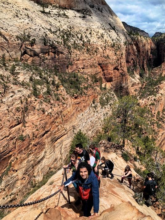 Zion national park, virgin river, landscape, sandstone cliffs, Utah National Parks, beautiful nature, Angel's Landing Summit, adventure hike, beautiful view, scrambling