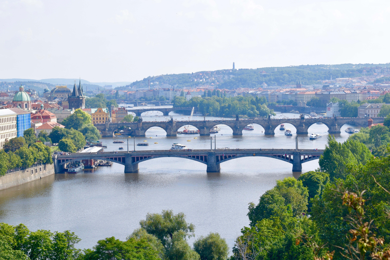 view of prague bridges from letna park